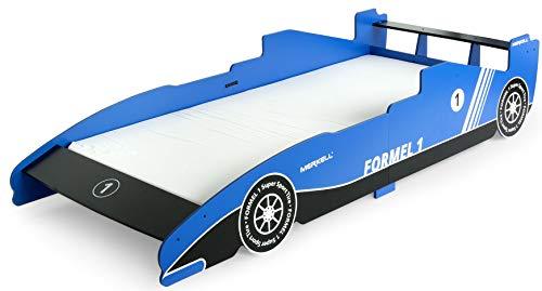 Leomark TRAUMBETT aus Holz - Blau - Einzelbett mit Matratze, Rausfallschutz, Lattenrost, Autobett für Kinder, Schlafbereich 200x90 cm