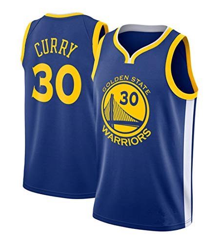 MTBD Basketballtrikot für Herren - NBA Warriors Golden State #30 Stephen Curry Basketball-Netztrikot,T-Shirt Unisexe Sportswear