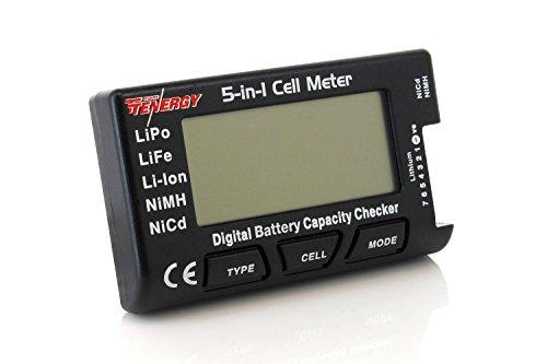 Tenergy 5-in-1 Battery Meter, Intelligent Cell Meter Digital Battery Checker Battery Balancer for LiPo / LiFePO4 / Li-ion/NiCd/NiMH Battery Packs (Nasa Bm1 Battery Monitor Best Price)