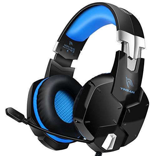 [2021]YINSAN ゲーミングヘッドセット マイク付き ヘッドホン 50mmドライバー ps4 ヘッドセット Switch/スカイプ/Xbox One/PC/スマホに対応 高音質 ステレオ サラウンド 軽量 有線 重低音強化 回転式イヤーカップ 一年保証 青&黒
