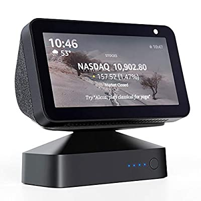 GGMM Echo Show 5 Adjustable Battery Base Stand Accessories, ES5 Battery Stand for Alexa Echo Show 5 Smart Speakers, Magnetic Attachment, Black (Show 5 Not Included) by GGMM