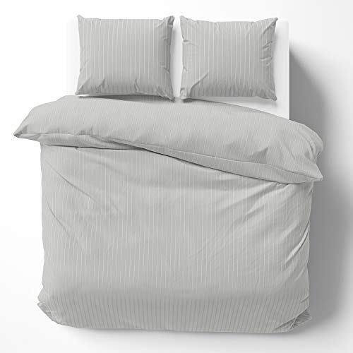 Alreya Ropa de cama de satén Mako de 200 x 220 cm, rayas grises – 100% algodón con cremallera YKK, funda nórdica supersuave, solo funda de edredón