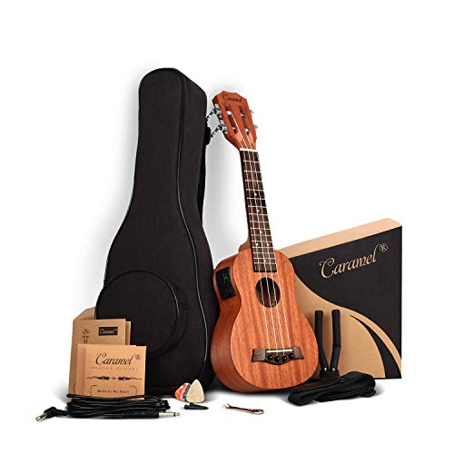 21 inch Solid Mahogany Top and Back - Caramel CS419 Soprano LCD color display Electric Ukulele ukelele Kit Bundle Aquila Strings, Padded Gig Bag, Strap Hanger Set