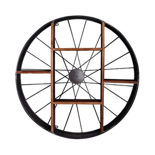 Étagère murale ronde étagère en bois de fer en métal étagères flottantes Étagères en forme de cube comme de rangement étagère murale décorations Vintage Design (Noir) (taille : 80×12.5×80cm)