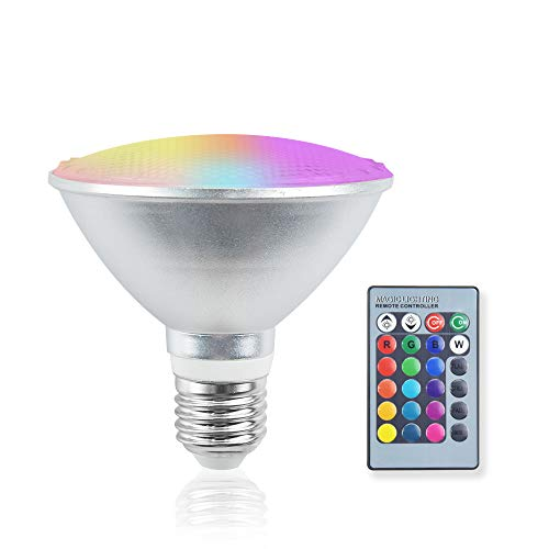 Bonlux Lampadina LED RGB, E27 Par30 LED RGBW, dimmerabile con telecomando e timing, 20 W, luce a LED a riflettore per casa, feste, impermeabile IP65