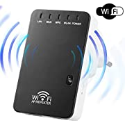 WiFi Repeater 300Mbps WiFi Range Extender, Wireless Router Signal Booster Amplifier Supports Repeater/AP, 802.11N/G/B Network with Integrated Antennas Dual RJ45 Port