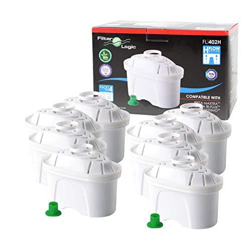 8 x FilterLogic FL402H - Cartouche filtrante compatible BRITA Maxtra pour fill & enjoy Elemaris / Marella / Navelia / Optimax et Bosch - Siemens Tassimo carafe filtrante
