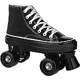 男性女性のための古典的なクワッドローラースケート、初心者のためのユニセックス大人の2列のスニーカーローラースケート10代の男の子の女の子 Black,43