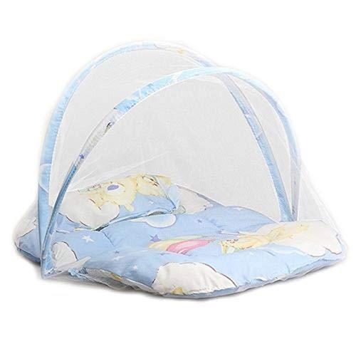 Reisebett/Travel-cot Baby Luxe Reisebettzelt inklusive Schlafmatte, baby Infant Tragbare faltbare Reise Bettwäsche Krippe Baldachin Moskitonetz Zelt mit Kissen (Blau)