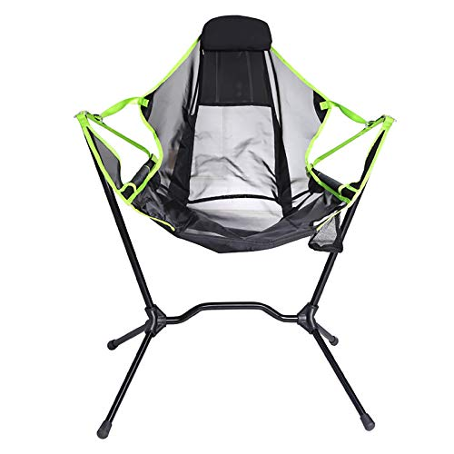 WGFGXQ Portable Folding Camping Rocking Chair, Outdoor Fishing Chair, Beach Folding Rocking Chair, Aluminum Alloy Bracket, for Camping Backpacking Hiking,Green