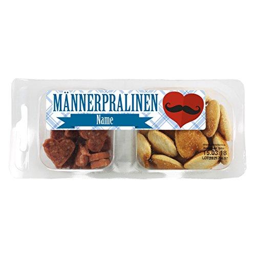 Herz & Heim® Snackbox - Männerpralinen - mit Salami und Salzgebäck und Wunschname im Etikett