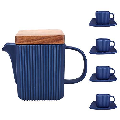 CSYY Teekanne mit Siebeinsatz, 800ML Teebereiter mit 4 Teetasse, 4 Untertassen und Siebeinsatz aus Edelstahl, Porzellan Kaffeeservice(Blau)