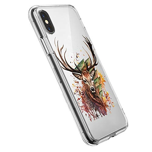 Pacyer Case kompatibel mit iPhone X Hülle Silikon Ultra dünn Transparent Handyhülle Rückschale TPU iPhone X Schutzhülle für Apple iPhone X Case Cover Mädchen Elefant Federn (4)