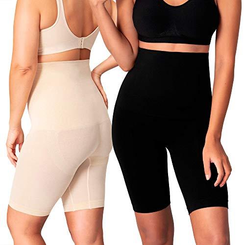Shapermint Modelador corporal de cintura alta, shorts modeladores para mulheres, tecnologia de emagrecimento da coxa e controle de barriga, Preto, nude, S