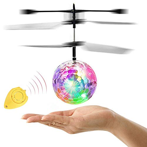 ZGWJ Flying Ball Toys, RC Toys Rechargeable Light Up Ball Drone Hand Control Induction Helicopter with Remote Controll for Boys Girls Indoor Outdoor Games