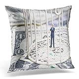 N\A Throw Pillow Cover Miniatura Empresario Dentro de Jaula de pájaros en una Pila de Billetes de dólar Funda de Almohada Decorativa Decoración del hogar Funda de Almohada Cuadrada