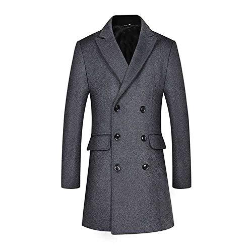 Abrigo de lana para hombre, cuello desplegable de la mitad de la longitud media de los hombres, doble botonadura de la lona de los hombres Gris gris 3XL
