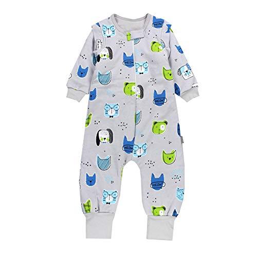 TupTam Baby Unisex Schlafsack mit Beinen und Ärmel Winter, Farbe: Tiere/Grau, Größe: 80-86