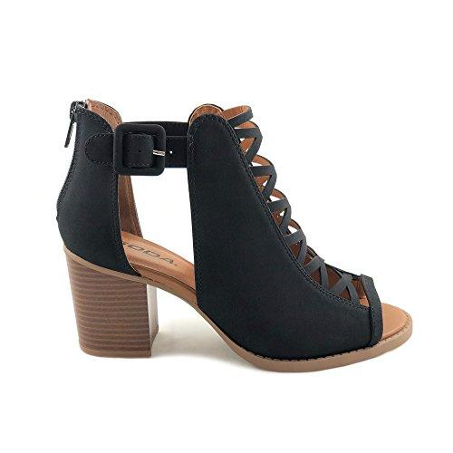 Soda Womens Fahsoin Aran Open Toe Heel Sandal,Black,7.5