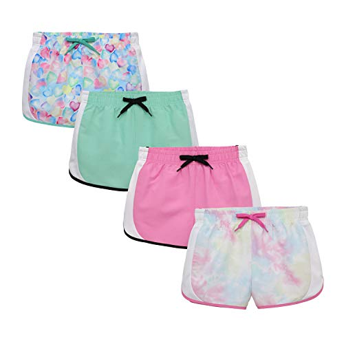 BTween Girls 4-Piece Summer Shorts | Performance Dolphin Shorts with Drawstring | Sports Running Shorts for Kids - Assorted Colors Mint