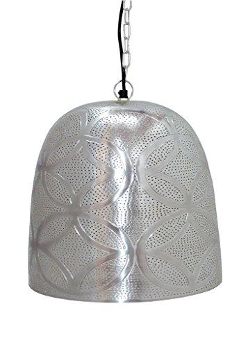 Lampes et lumière, Aluminium, Neuf marocain/Marrakech Belljar Main en fleur Etching et gravure Intérieur Plafonnier lampe Décoration de maison à suspendre, 35 x 35 x 34 cm, Argent