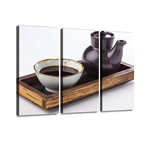 HABEN ARTWORK Teriyaki Sauce Print On Canvas Wall Artwork Modern Photography Home Decor Unique Pattern Stretched and Framed 3 Piece