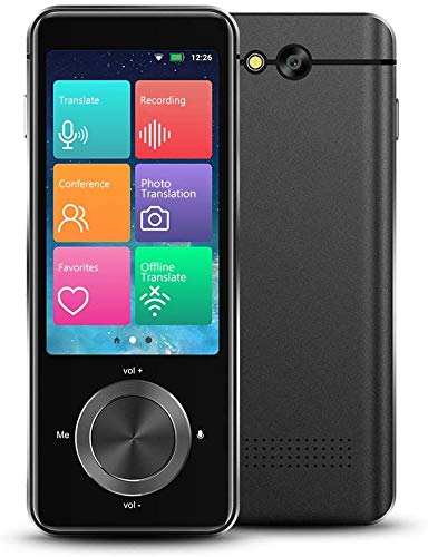 Real Time Language Translator Device 107 Languages, Two Way Portable Instant Voice Translator, Voice/Text/Photo Translation, 3-inch HD Touch Screen Camera Audio Voice