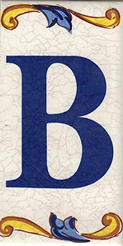 TORO DEL ORO Números casa. Numeros y Letras en azulejo. Calca cerámica. Estilo craquelé. Nombres y direcciones. Diseño Craquelé Mediana 5x10 cms (Letra