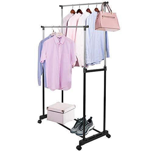 SPRINGOS Portant à vêtements à roulettes - Séchoir à linge télescopique avec 2 tringles à vêtements en métal - Hauteur réglable de 95 à 165 cm - Support télescopique sur roulettes - Noir