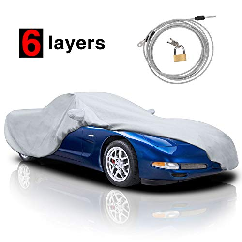 KAKIT 6 Layers Car Cover for Corvette 1996-2004 Custom Fit C5 Cover for Outdoor Indoor with Storage Bag