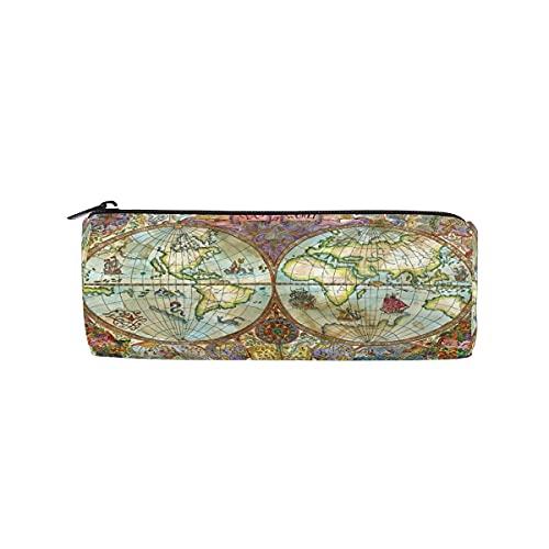 VJSDIUD Vintage World Map Bolso de lápices antiguo Estuche de lápices redondo Estuches de estuches para bolígrafos con cremallera Estuches de papelería Cosméticos Maquillaje Pincel