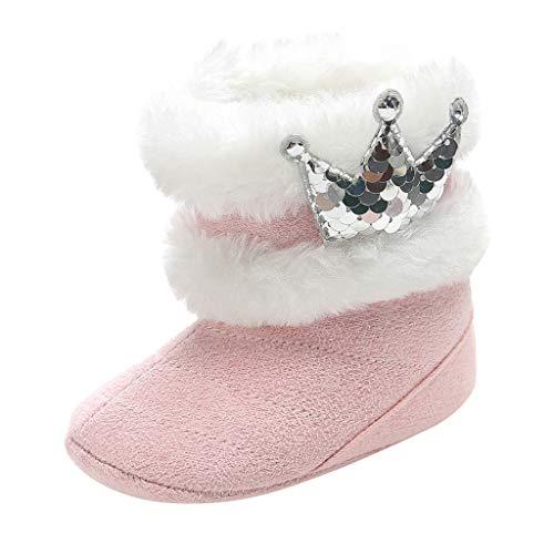 Lazzboy Kleinkind Kind Baby Nette Krone Bling Winter Warme Schnee Aufladungs Beiläufige Schuhe Säuglingsjungen Mädchen Stricken Woolen Stiefel Prinzessin Prewalker(Rosa,6-12Months)