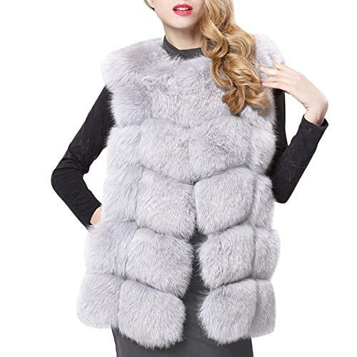 EFINNY Damen Winter Warm Gilet Weste Faux Fuchspelz Sleeveless Lange Weste Mantel Jacke Outwear S-4XL