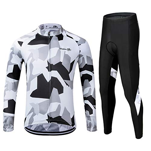 Men's Cycling Jersey Set Long Sleeve MTB Road Bike Clothing with 3D Padded Shorts Breatbale/Quick-Dry Riding Outfit Camo/White