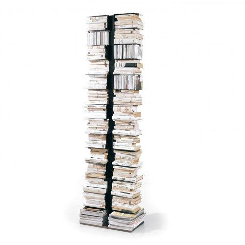 Opinion Ciatti Ptolomeo X2 Büchersäule, schwarz lackiert Fuß Edelstahl 30x50x192cm