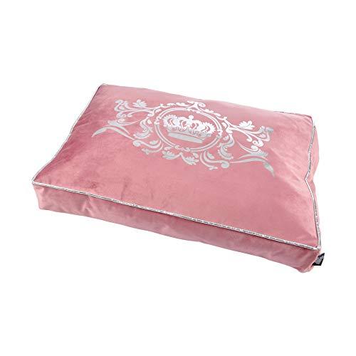 Luxus Samt Hundebett Krone 80x60cm rosa Hundebett Schlafplatz Hunde Katzen Bett Crown King Queen