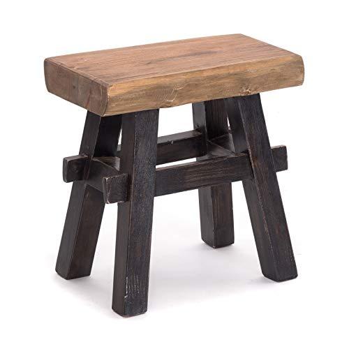 DESIGN DELIGHTS RUSTIKALER Holz HOCKER Vintage 40