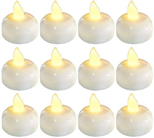 Duyifan Waterproof LED Floating Tealights, Floating Led Candles, Flameless Floating LED Tea Lights 12 Pack Waterproof Tealight Candles, Battery Operated Tealights, Pool, Wedding, Party, Warm White