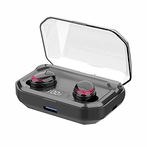 Auriculares Bluetooth, In-Ear Auriculares Inalámbricos Bluetooth 5.0 3000mAh 120H Playtime, 6D Hi-Fi Estéreo, IPX8 Impermeable Bluetooth Deportivos con Caja de Carga y Mic, LED Display, Control Táctil