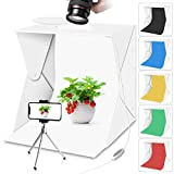 Portable Photo Studio Light Box with Lights for Product Food Photography, Aureday Mini Photo White...