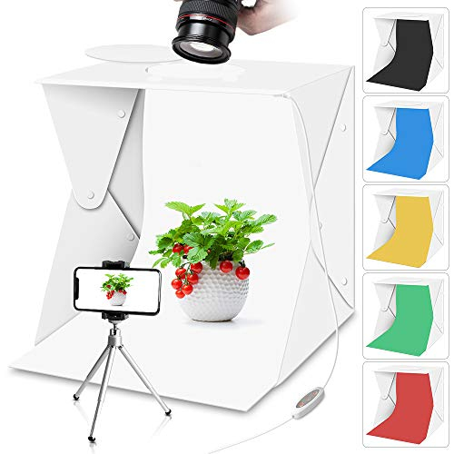 lighting ever light boxes Portable Photo Studio Light Box with Lights for Product Food Photography, Aureday Mini Photo White Box & Flash Lightbox with 6 Colors Backups, Shooting Tent with Mini Tripod