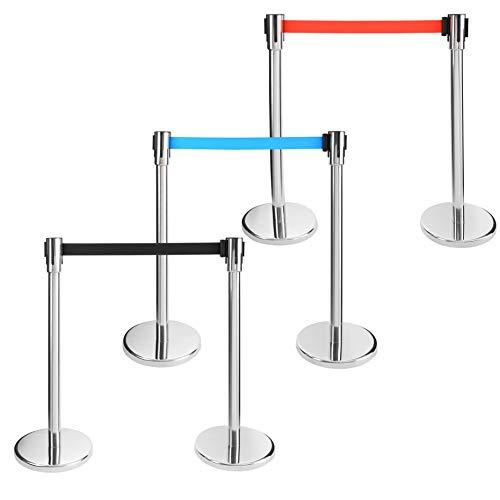 AREBOS Personenleitsystem   2 Stück   Chrom Absperrbänder   Bandfarbe: Rot   Bandlänge: 190cm   5 kg Bodenplatte   im Innen- und Außenbereich einsetzbar