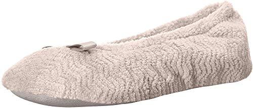 Isotoner Damen Chevron Microterry Ballerina Hausschuhe mit Feuchtigkeitstransport und Wildledersohle für Komfort, Beige (Taupe), 39.5/40 EU