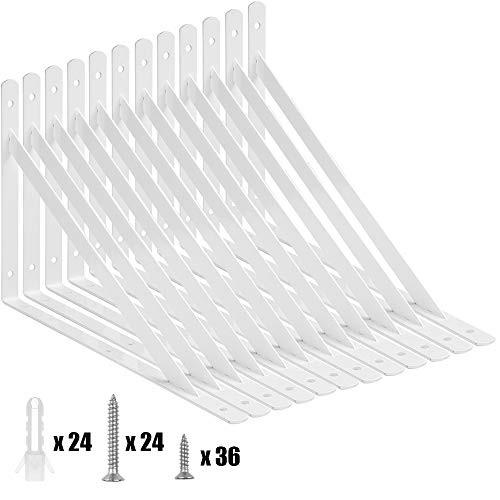 Acrux7 12 Pcs Heavy Duty Shelf Brackets, 12 x 7.5 Inch Floating Shelves Tripod Triangle Shelf Brackets, 90 Degree Angle Wall Mounted Shelf Supporter Bracket Frame, White