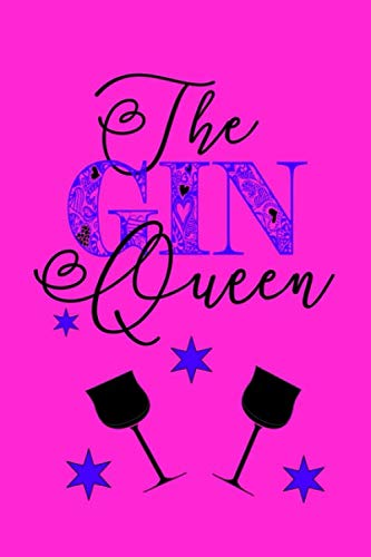 The Gin Queen: Blank lined 6x9 bright pink journal notepad for Gin lovers to write in.
