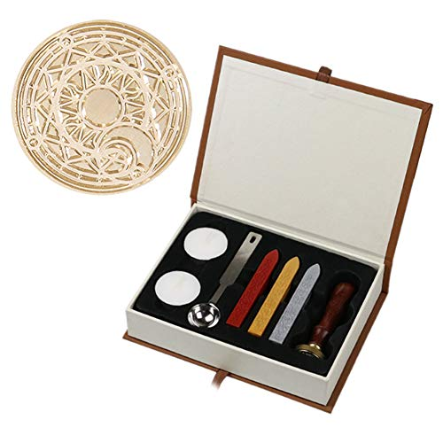 Riboaoy Retro Wax Seal Stamp Fire Painting Stamping Gift Box Set for DIY Manual (F)