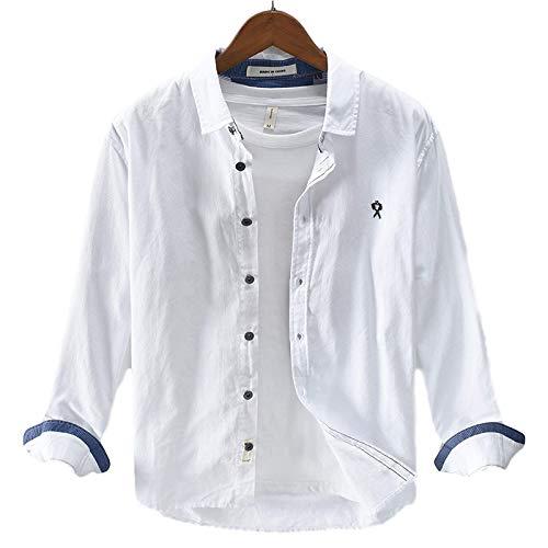 Camisa con Cuello Vuelto para Hombre Camisa de Manga Larga con Botones de Color sólido, Ajuste Regular, Informal, Simple, versátil XX-Large