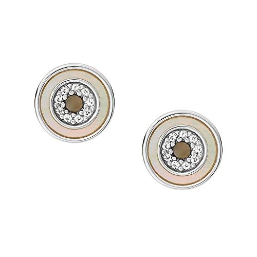 Fossil Pendientes de botón Evil Eye para mujer, con nácar, en tono plateado, JFS00551040
