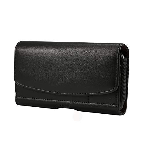 Premium PU Leather Cell Phone Belt Clip Holster Pouch Case w/Belt Loop Wallet ID Card Slots Compatible Google Pixel 3a XL/Pixel 3 XL/ZenFone AR / 5Q / OnePlus 6T / 5T / HTC U12 Plus / U11 Eyes