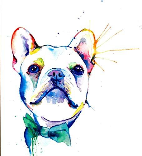 French Bulldog Cute Pet Dog﹣ Full Round Drill Diamond Painting ﹣ Cross Stitch Kit Full Diamond Embroidery Wall Art Home Decoration Gift